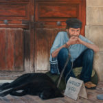 Oil painting of a homeless man in France by Edith van Duin-Schermer, 2011