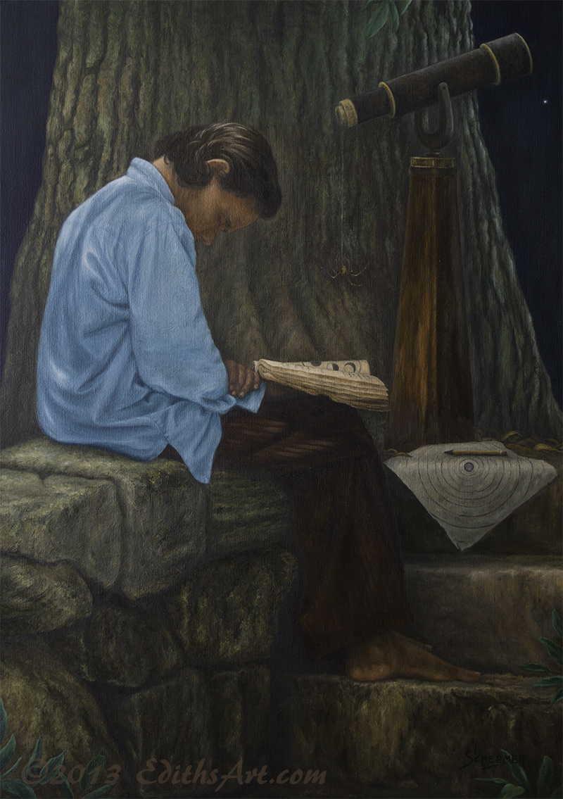 Oil painting, The Observer by Edith van Duin-Schermer, 2013