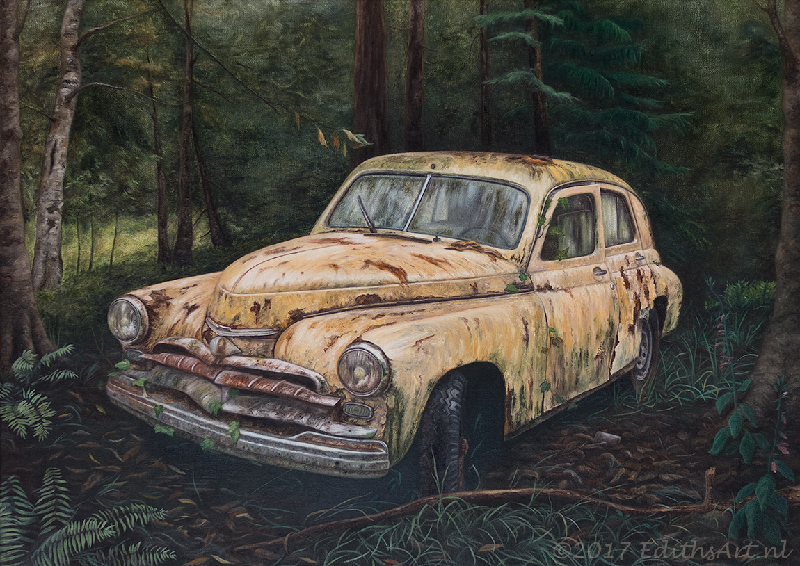 Old Car (GAZ-M20 Pobeda), oil painting by Edith van Duin-Schermer, 2017