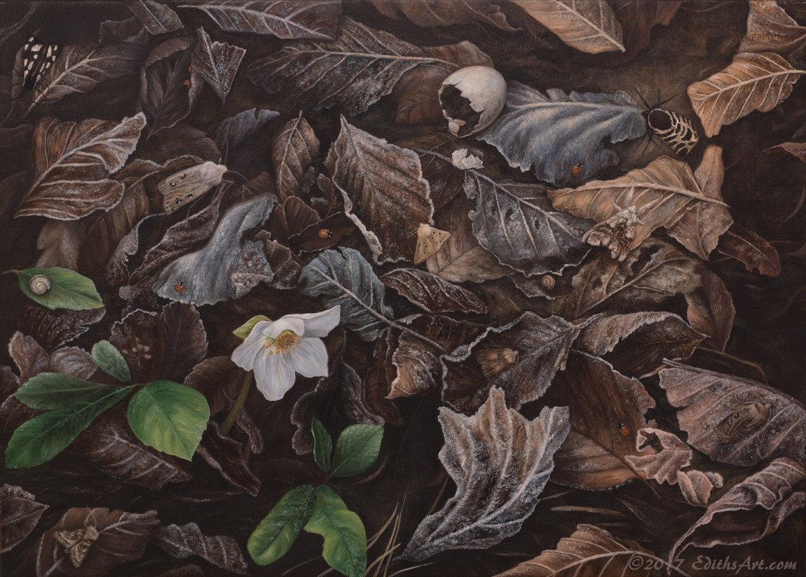 Between the Frosted Leaves, oil painting by Edith van Duin-Schermer, 2017