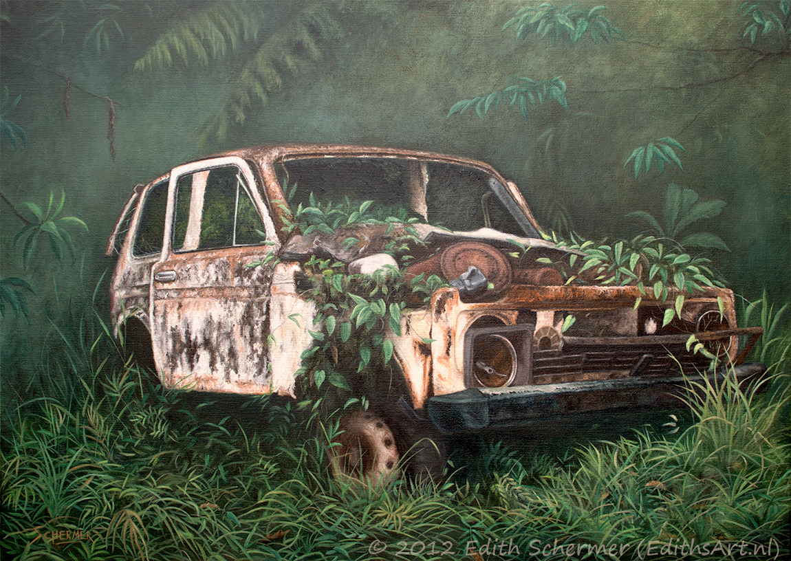 Forgotten (Abandoned Old Car), oil painting by Edith van Duin-Schermer, 2012