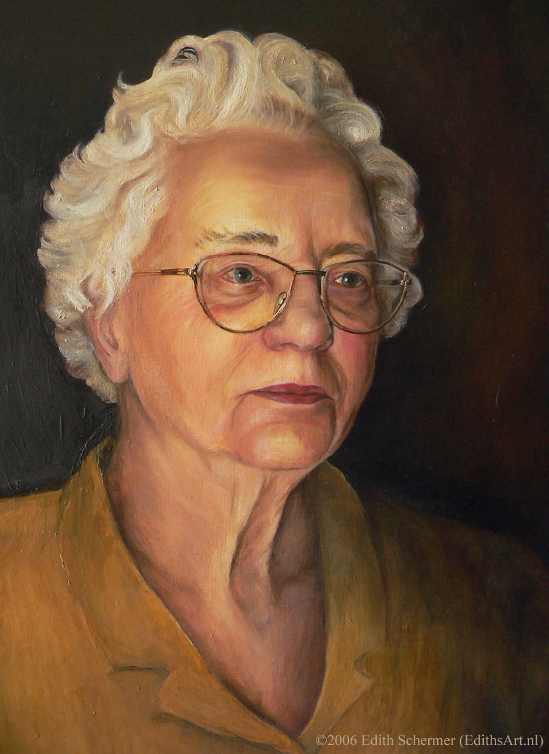 Portrait of my Grandmother, oil painting by Edith van Duin-Schermer, 2000