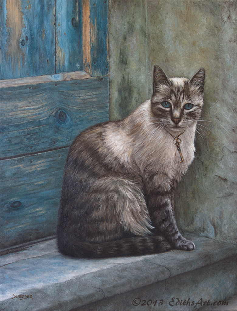 The Cat, oil painting by Edith van Duin-Schermer, 2013