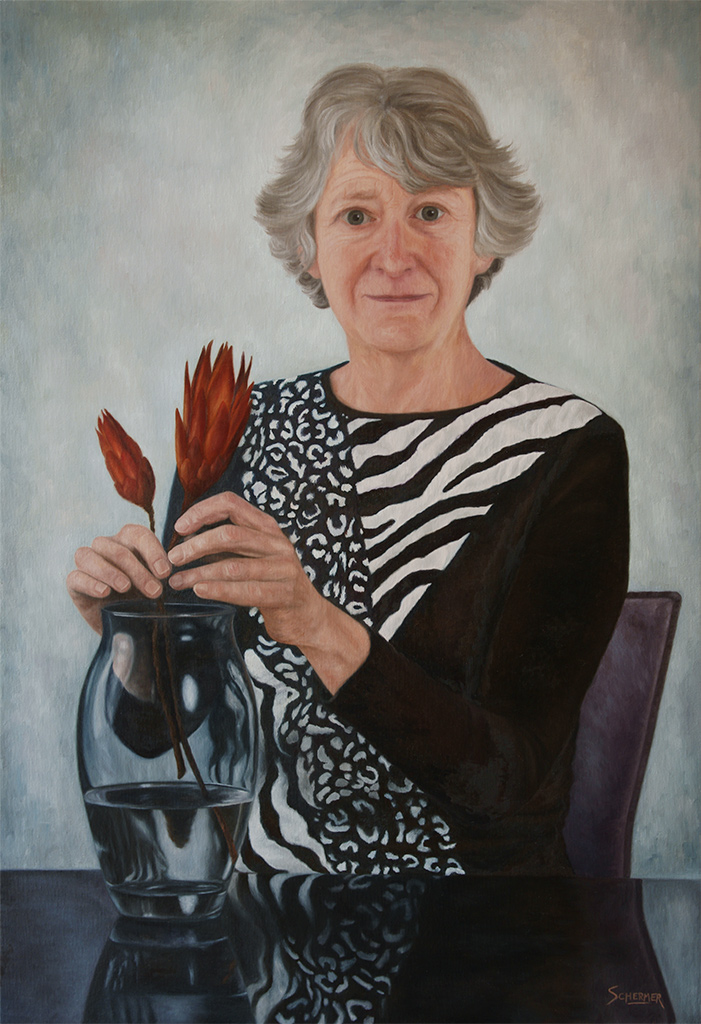 Portrait of my Mother, oil painting by Edith van Duin-Schermer, 2011